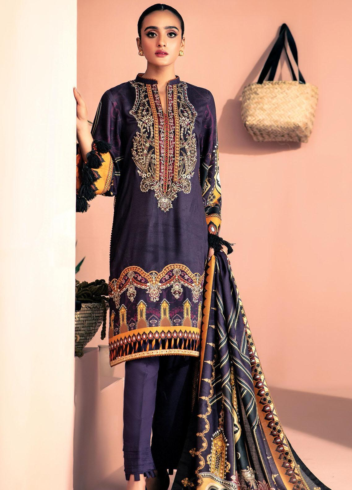 Farasha Embroidered Linen Unstitched 3 Piece Suit FSH20LN 01 Mulberry Dreams - Winter Collection