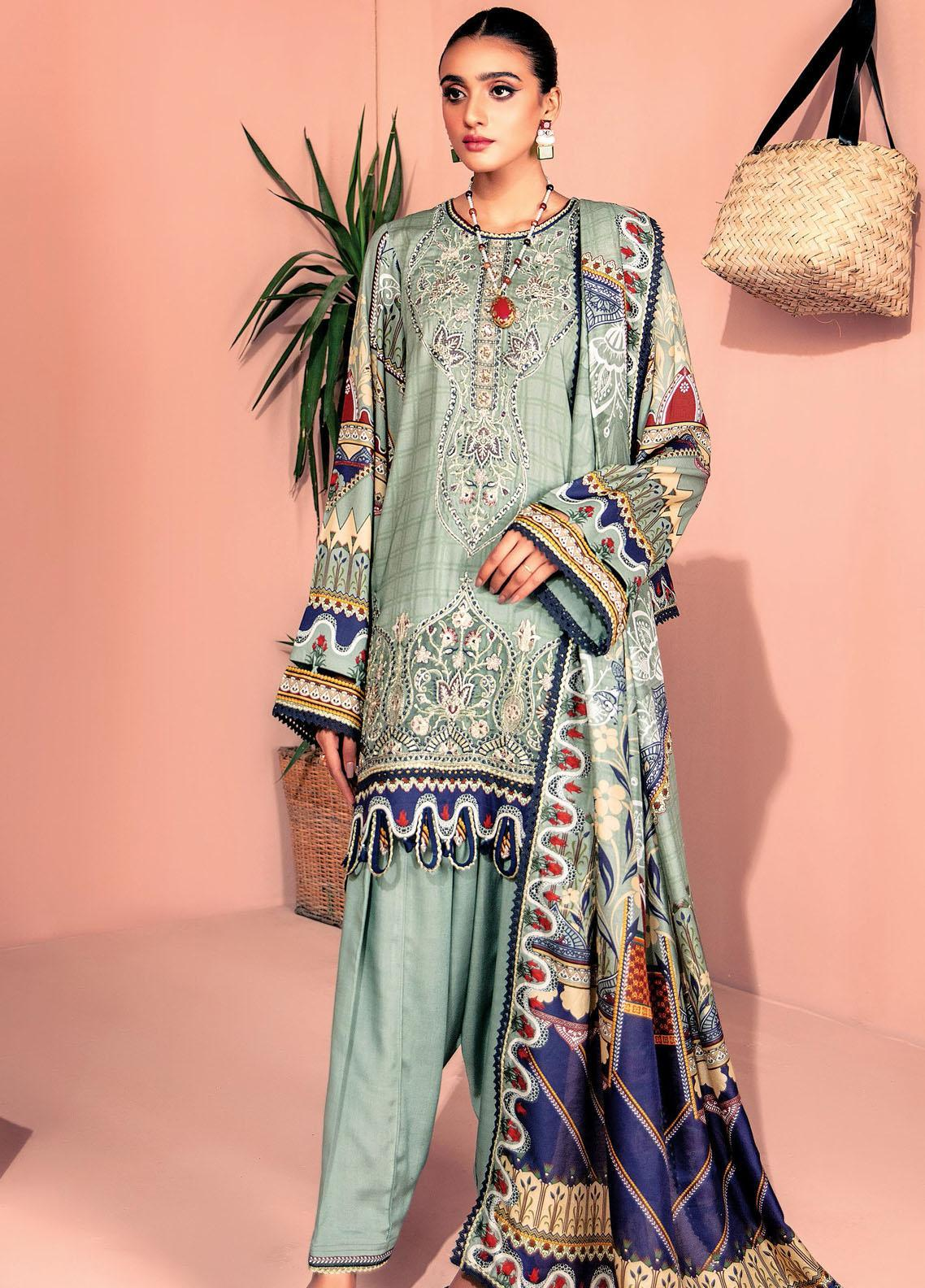 Farasha Embroidered Linen Unstitched 3 Piece Suit FSH20LN 02 Mint Carnation - Winter Collection