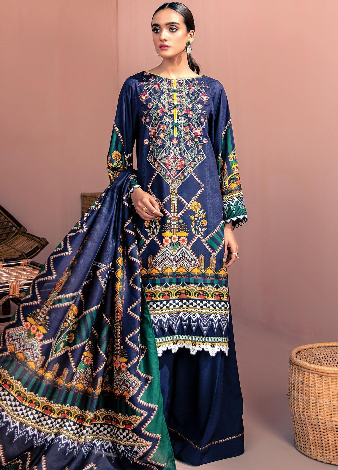 Farasha Embroidered Linen Unstitched 3 Piece Suit FSH20LN 03 Jewel Blue - Winter Collection