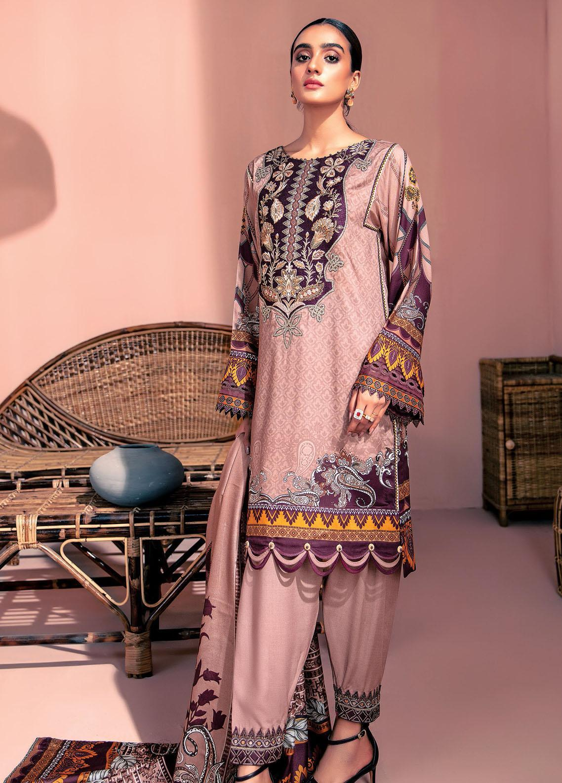 Farasha Embroidered Linen Unstitched 3 Piece Suit FSH20LN 04 Pink Clay - Winter Collection