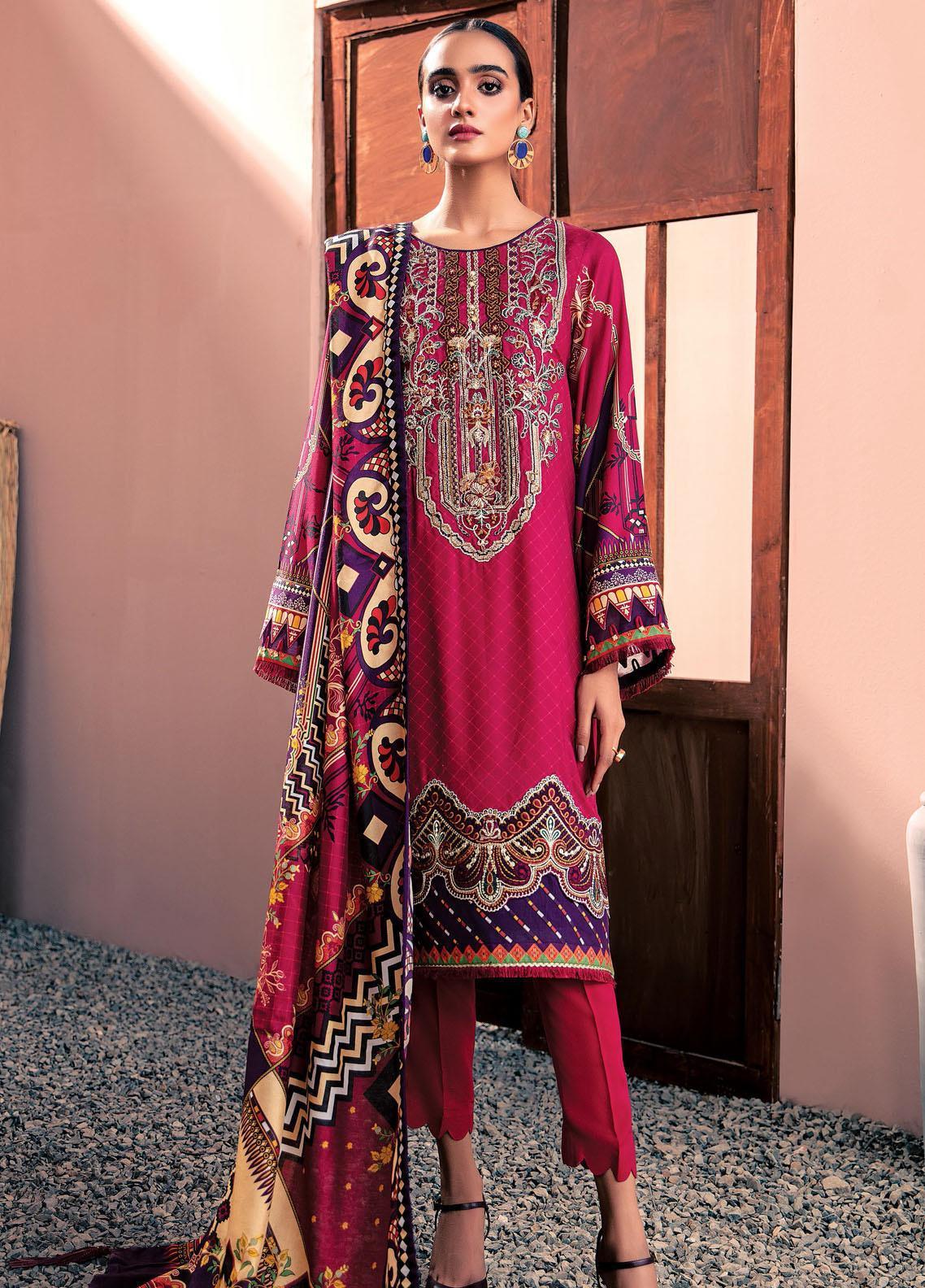 Farasha Embroidered Linen Unstitched 3 Piece Suit FSH20LN 06 Berry Blush - Winter Collection