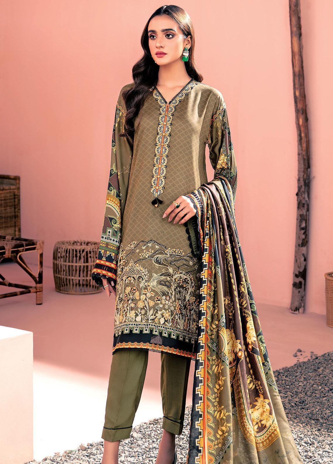 Farasha Embroidered Linen Unstitched 3 Piece Suit FSH20LN 07 Dusky Hues - Winter Collection