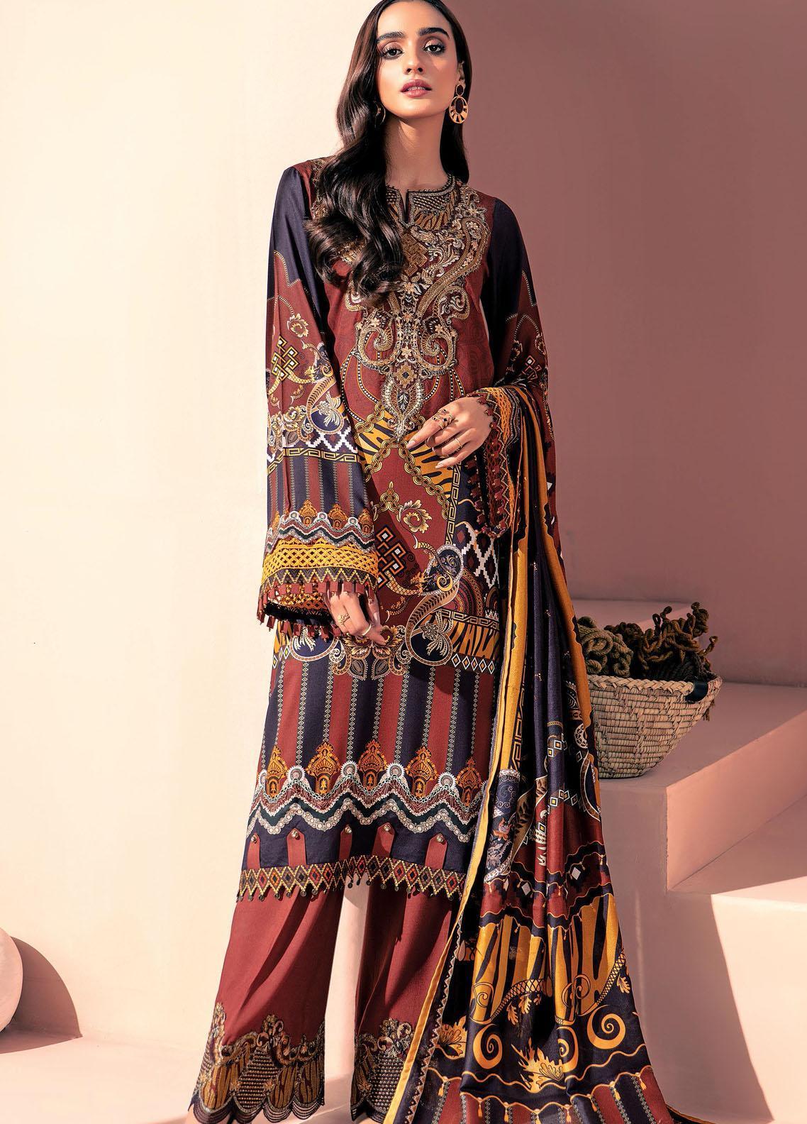Farasha Embroidered Linen Unstitched 3 Piece Suit FSH20LN 08 Autumn Zeal - Winter Collection