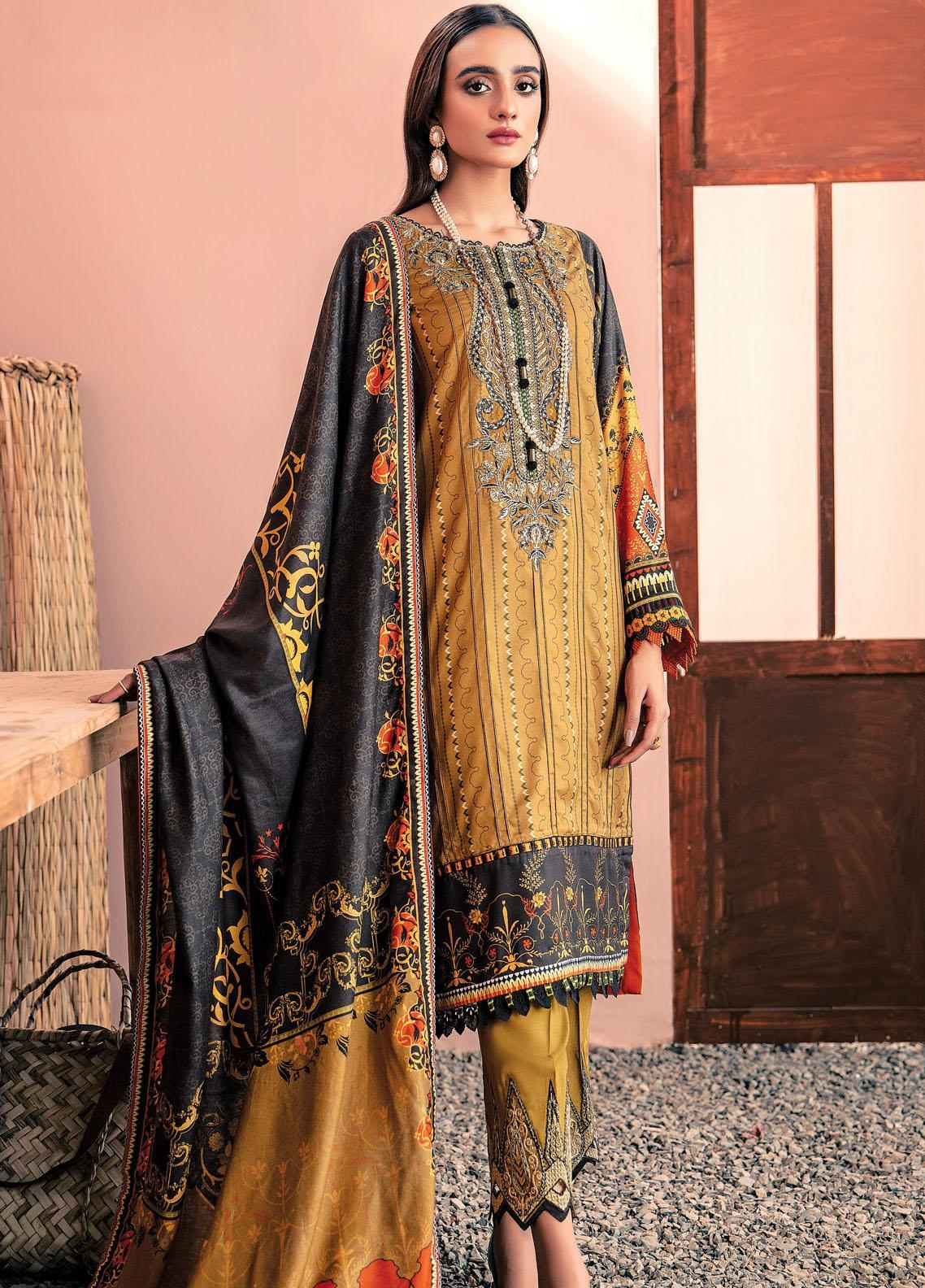 Farasha Embroidered Linen Unstitched 3 Piece Suit FSH20LN 09 Gold Azure - Winter Collection