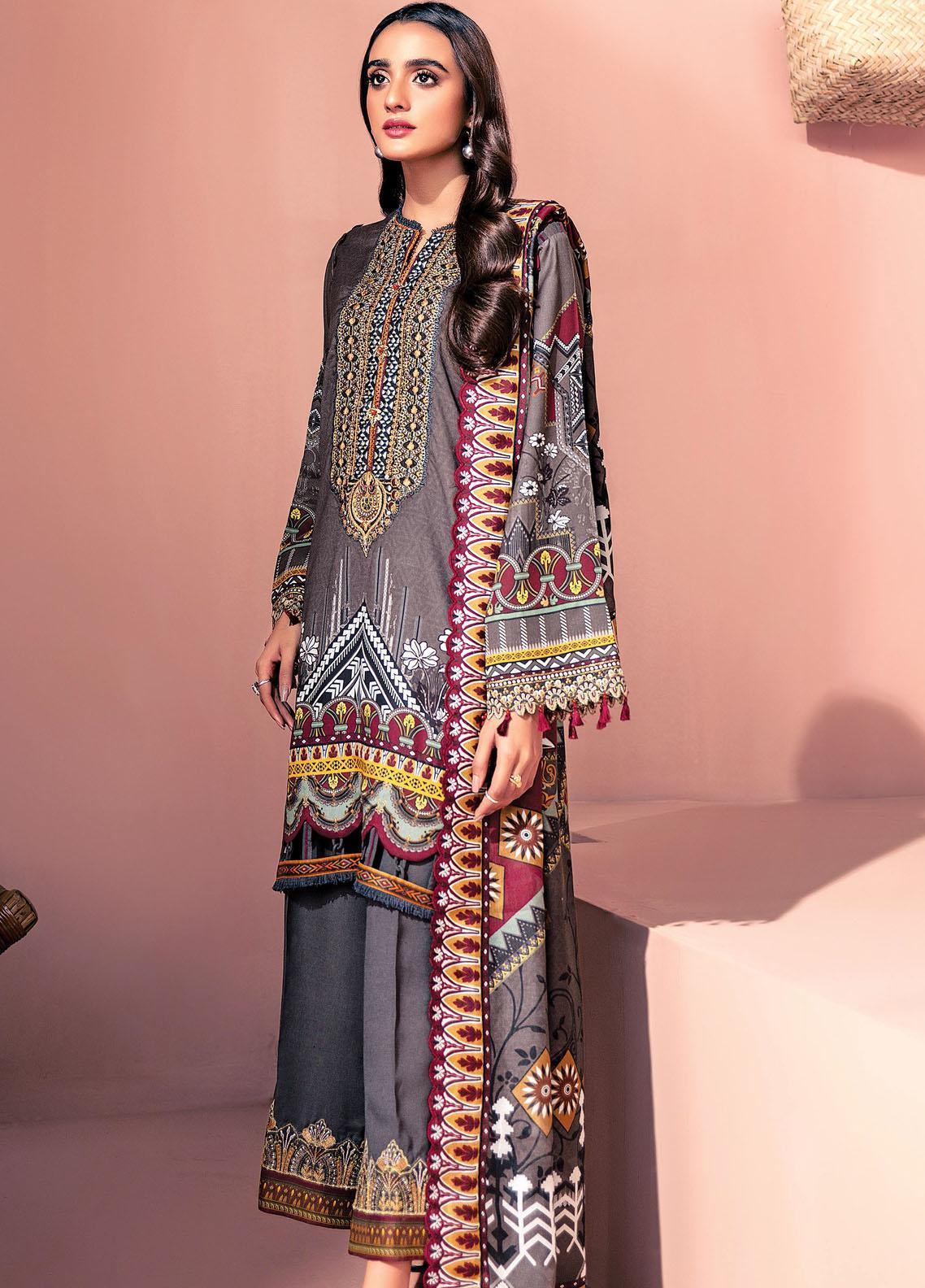 Farasha Embroidered Linen Unstitched 3 Piece Suit FSH20LN 10 Charcoal Ash - Winter Collection