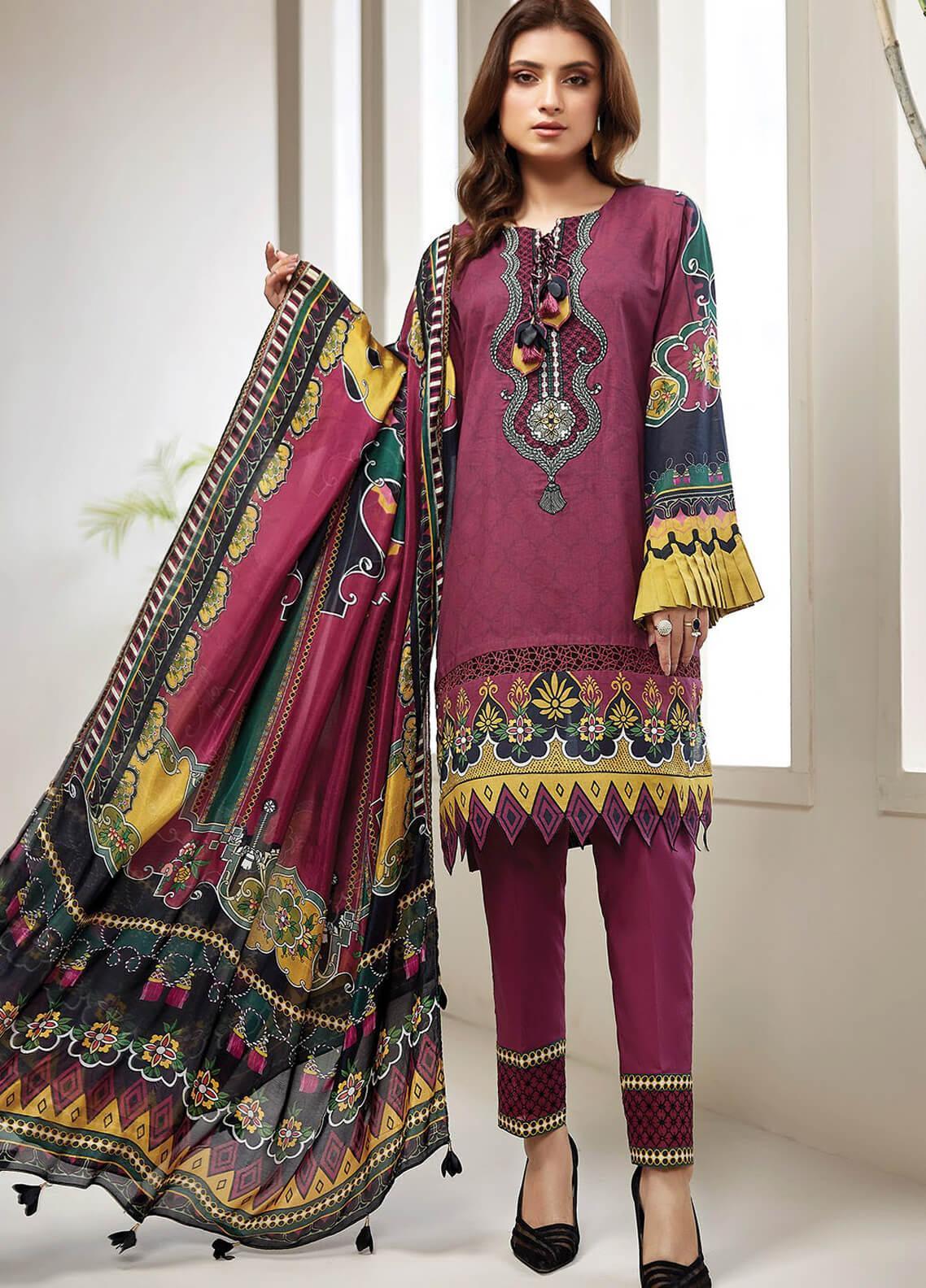 Farasha Embroidered Lawn Unstitched 3 Piece Suit FSH20L 01 AZALEA - Spring / Summer Collection