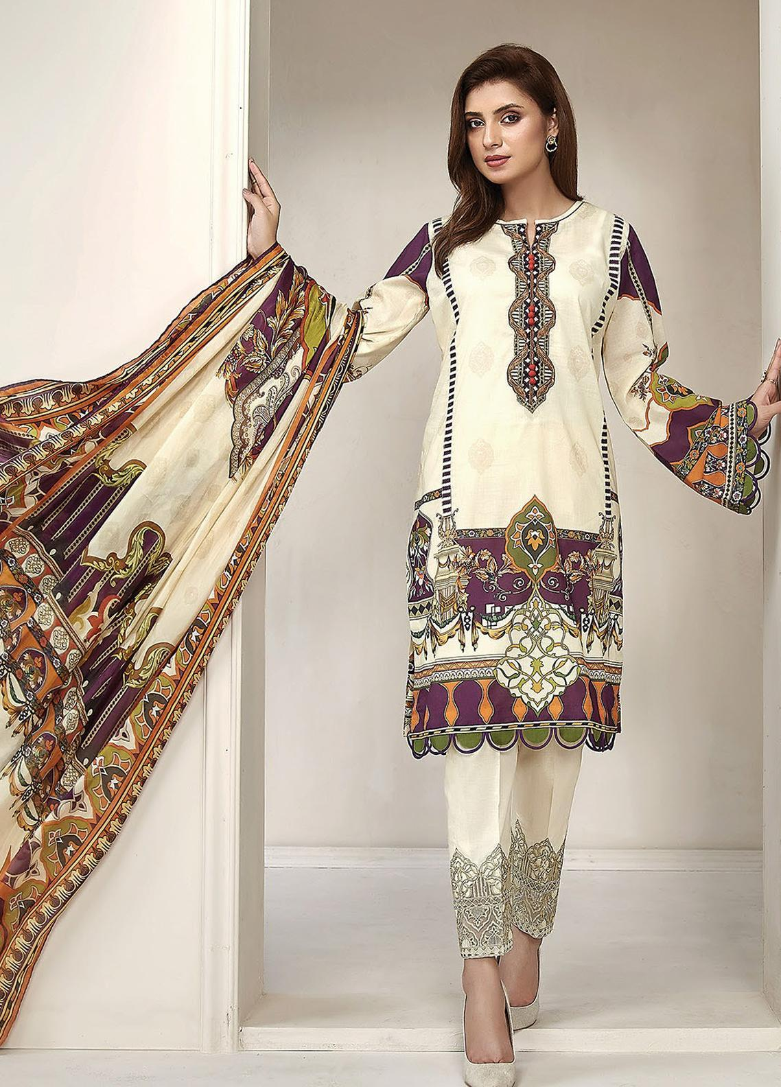 Farasha Embroidered Lawn Unstitched 3 Piece Suit FSH20L 02 IVORY ABLAZE - Spring / Summer Collection