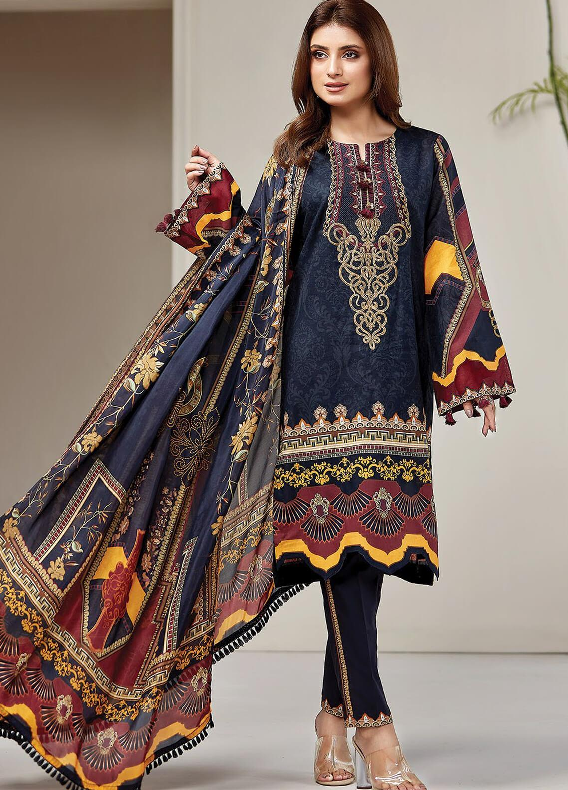 Farasha Embroidered Lawn Unstitched 3 Piece Suit FSH20L 03 MIDNIGHT GLORY - Spring / Summer Collection