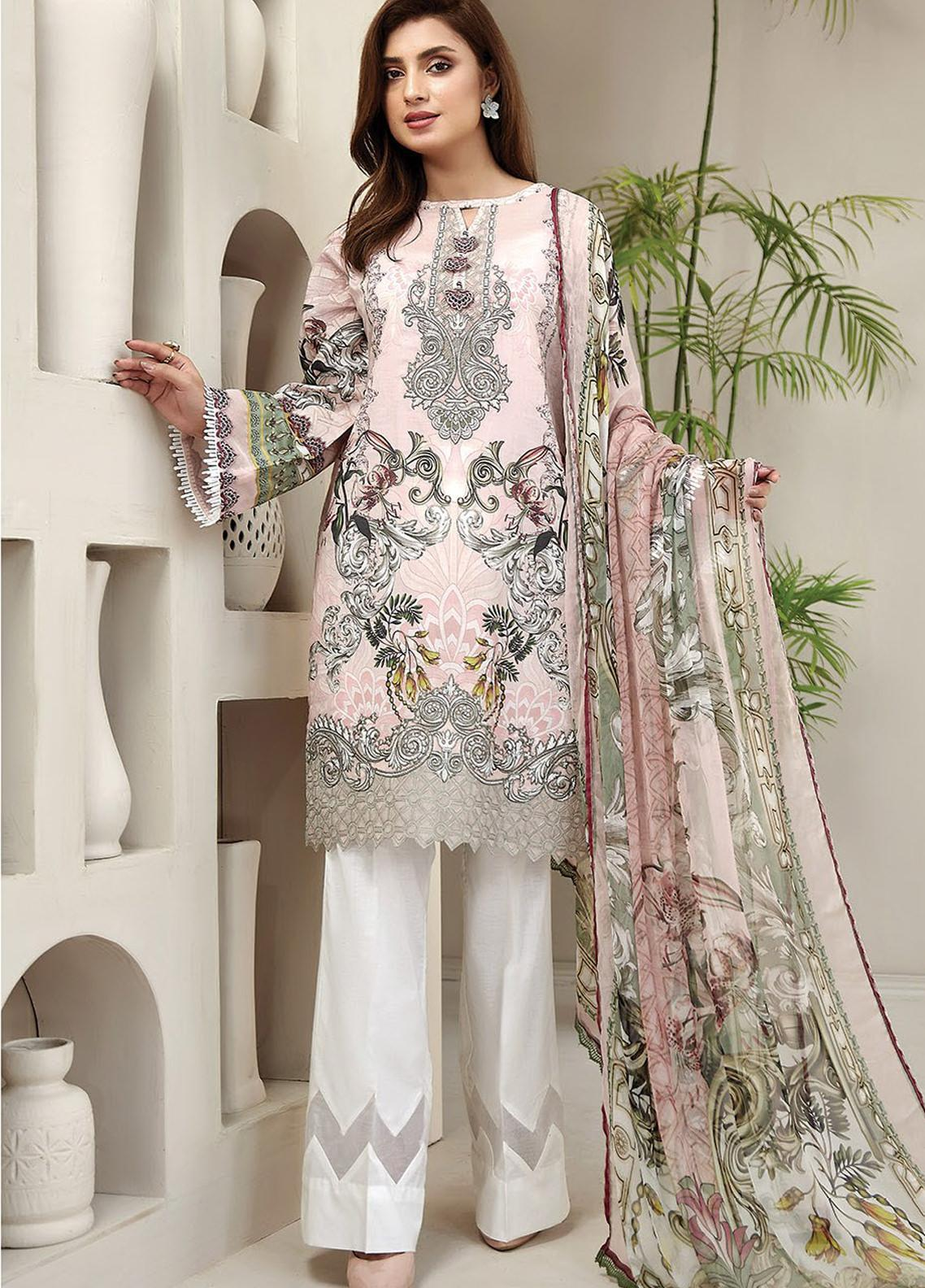 Farasha Embroidered Lawn Unstitched 3 Piece Suit FSH20L 04 BUTTERFLY BLUSH - Spring / Summer Collection