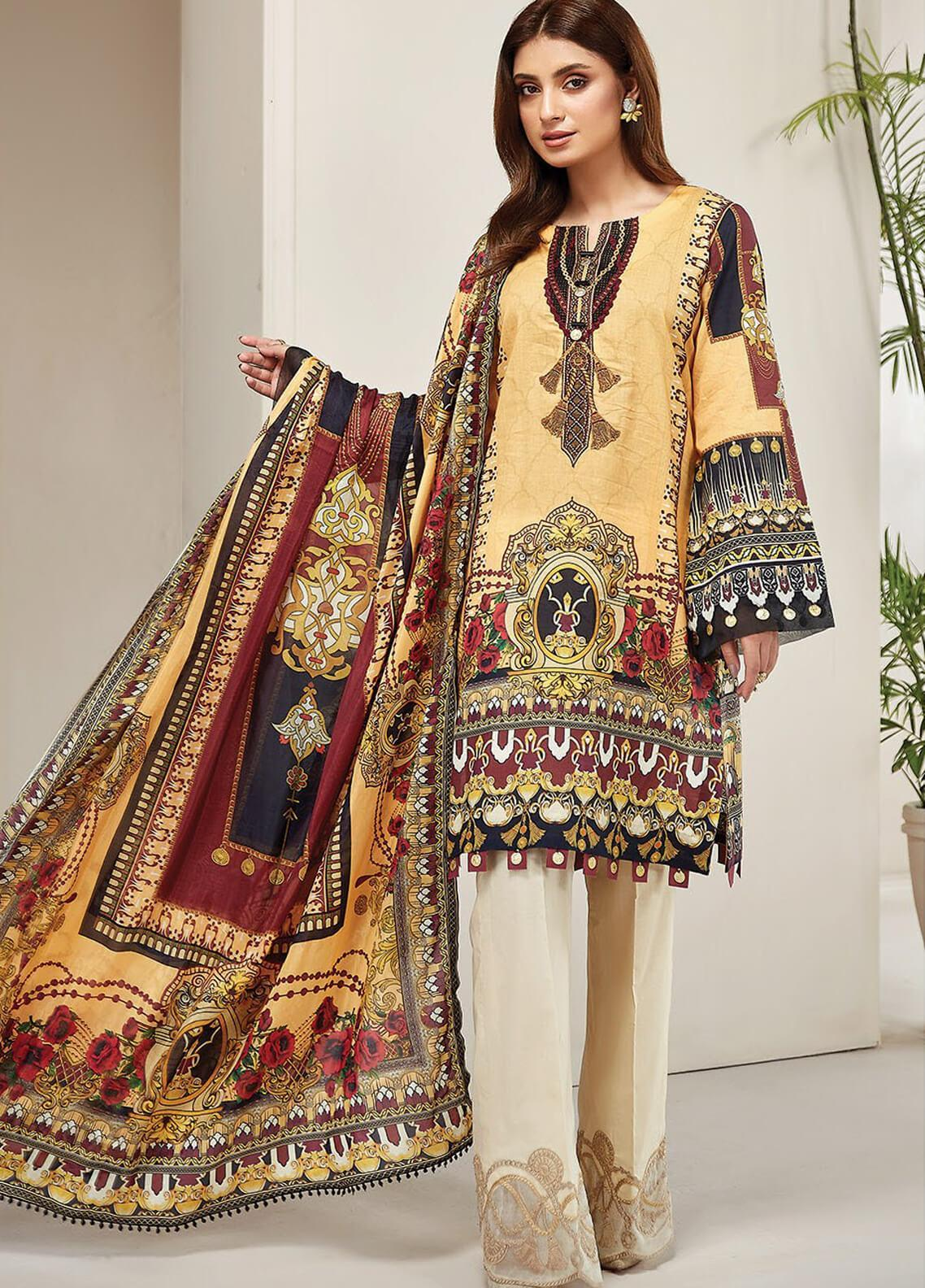 Farasha Embroidered Lawn Unstitched 3 Piece Suit FSH20L 05 PRIMROSE DREAM - Spring / Summer Collection