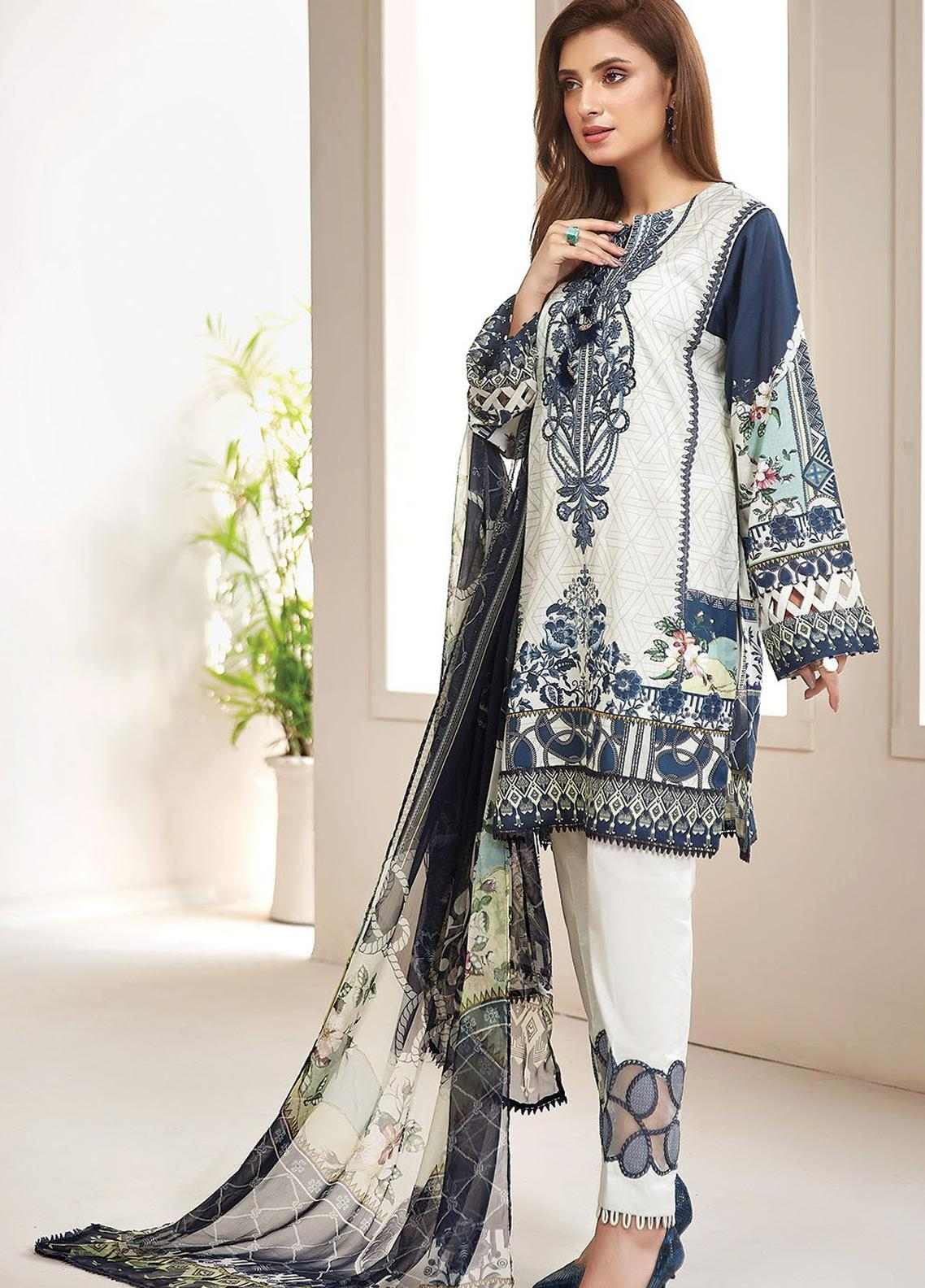 Farasha Embroidered Lawn Unstitched 3 Piece Suit FSH20L 10 PERIWINKLE - Spring / Summer Collection