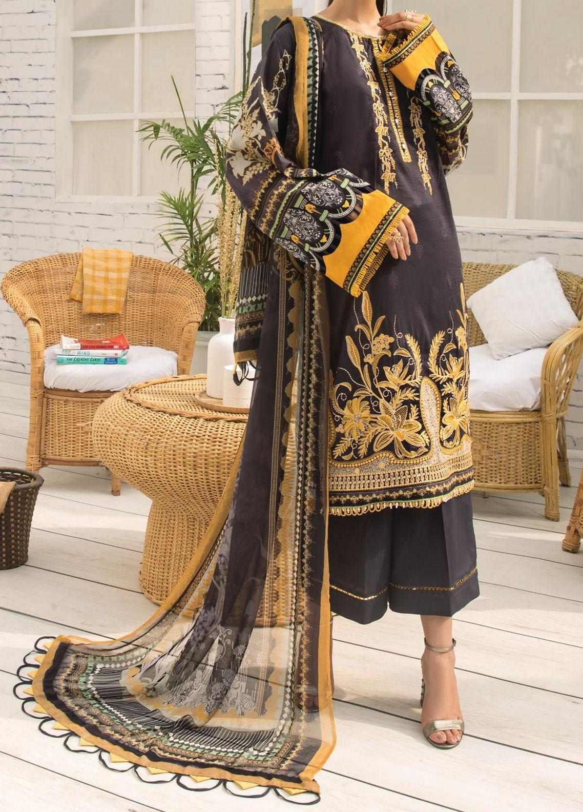 Farasha Embroidered Lawn Unstitched 3 Piece Suit FSH20-L2 02 Radiant Stardust - Summer Collection