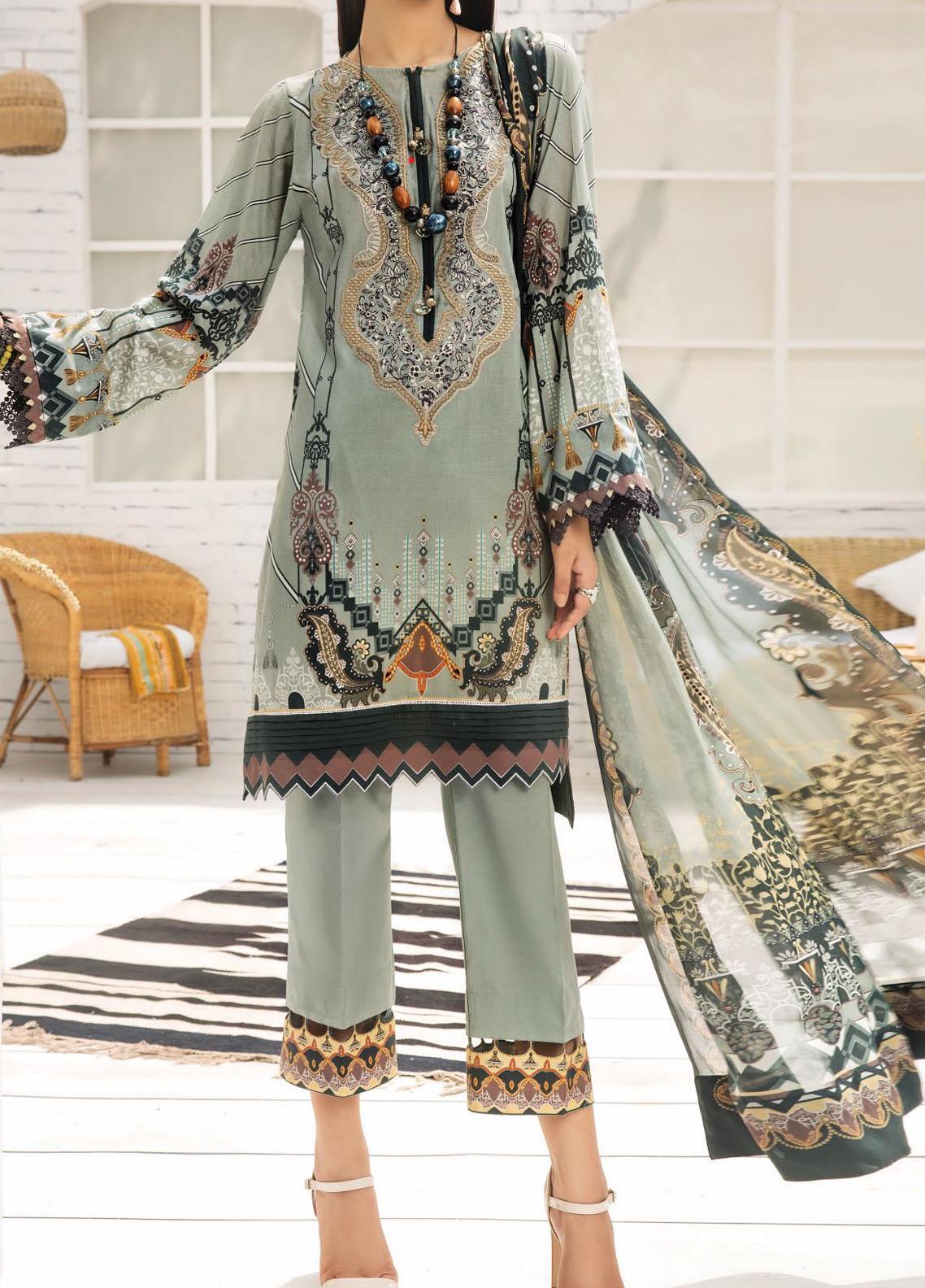 Farasha Embroidered Lawn Unstitched 3 Piece Suit FSH20-L2 04 Victorian Sage - Summer Collection