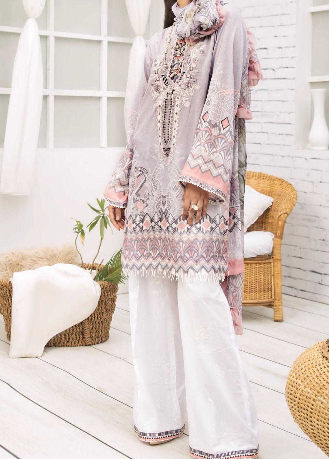 Farasha Embroidered Lawn Unstitched 3 Piece Suit FSH20-L2 05 Mystic Lily - Summer Collection