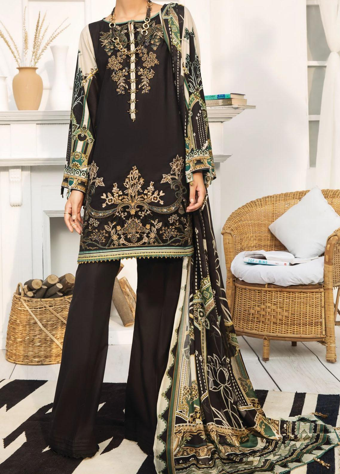 Farasha Embroidered Lawn Unstitched 3 Piece Suit FSH20-L2 06 Noir Bliss - Summer Collection