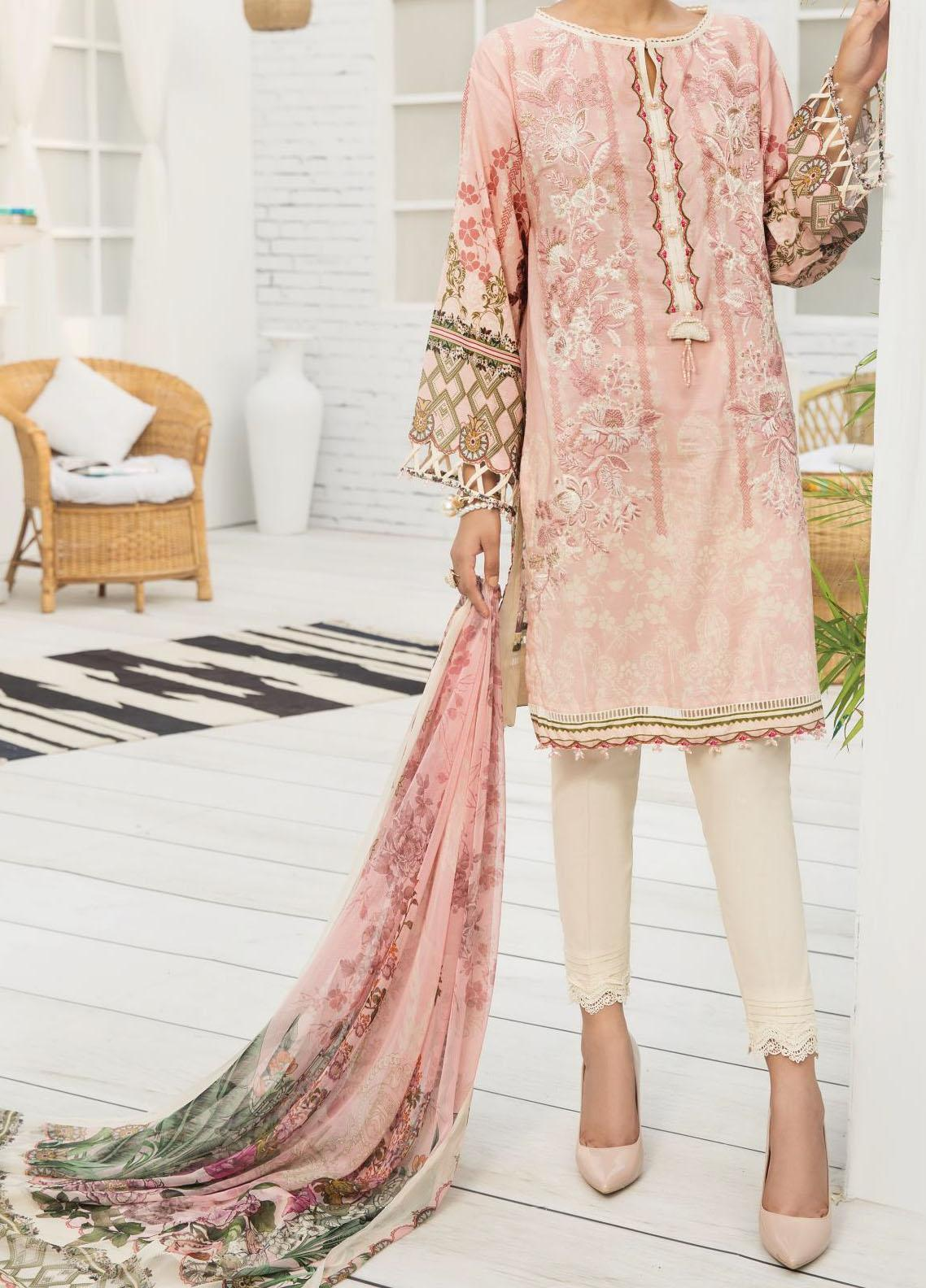 Farasha Embroidered Lawn Unstitched 3 Piece Suit FSH20-L2 07 Pink Orchid - Summer Collection