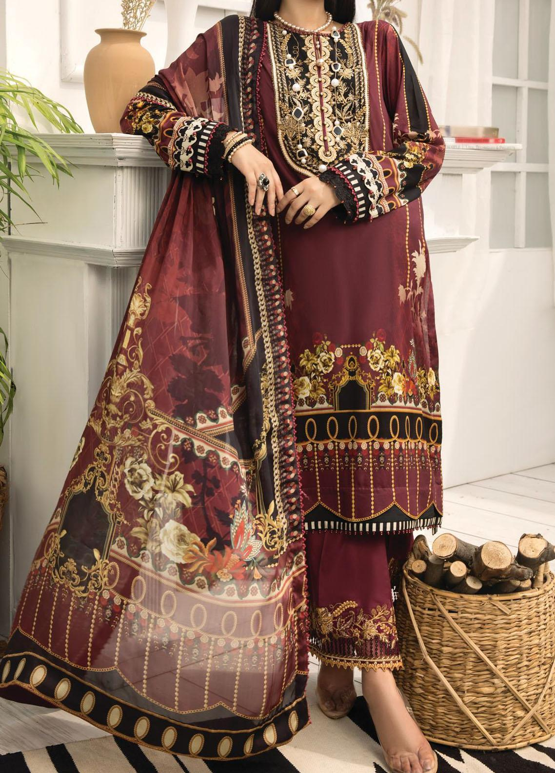 Farasha Embroidered Lawn Unstitched 3 Piece Suit FSH20-L2 09 Rosewood Fantasy - Summer Collection