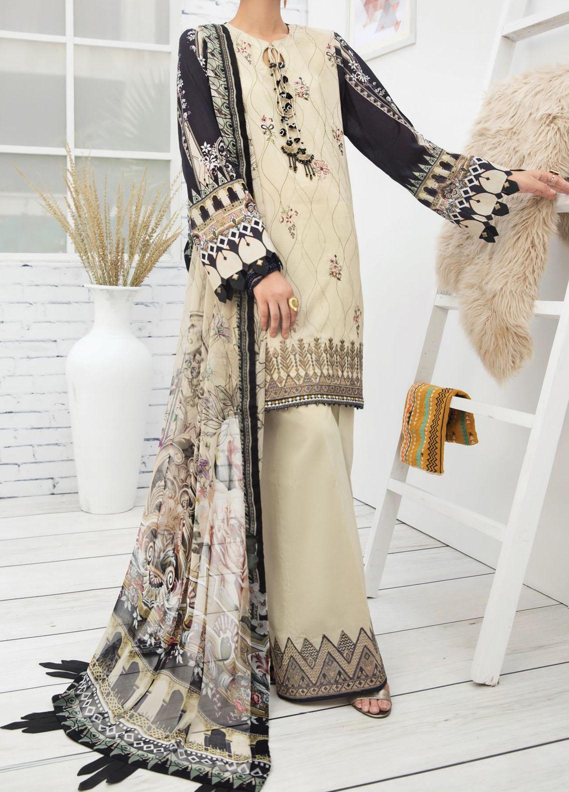 Farasha Embroidered Lawn Unstitched 3 Piece Suit FSH20-L2 10 Lush Elegance - Summer Collection