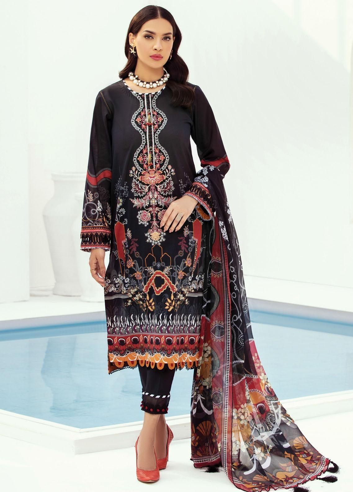 Farasha Embroidered Lawn Suits Unstitched 3 Piece FSH21L 01-AURORA EMINENCE - Summer Collection