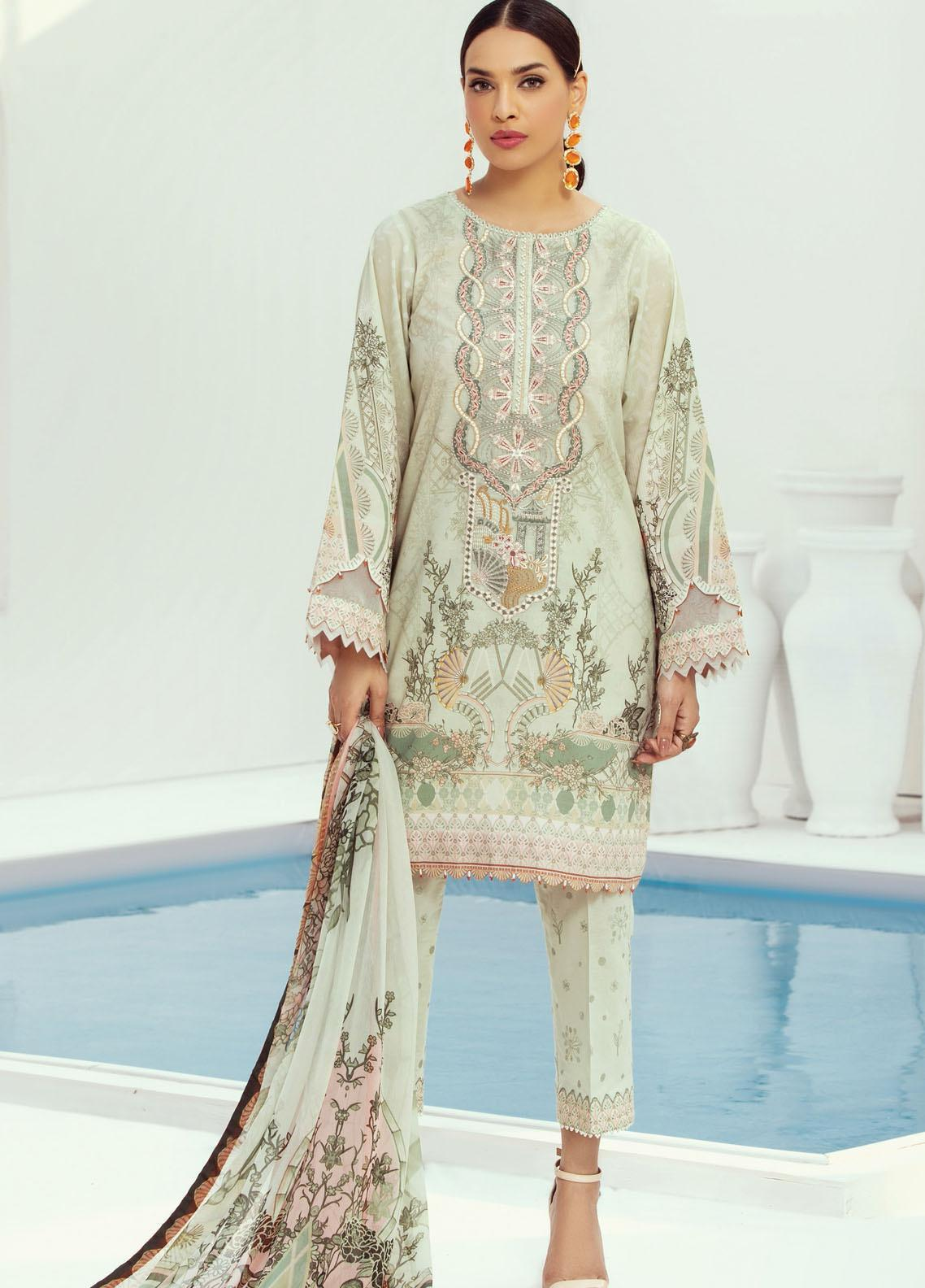Farasha Embroidered Lawn Suits Unstitched 3 Piece FSH21L 02-HEAVEN SCENT - Summer Collection