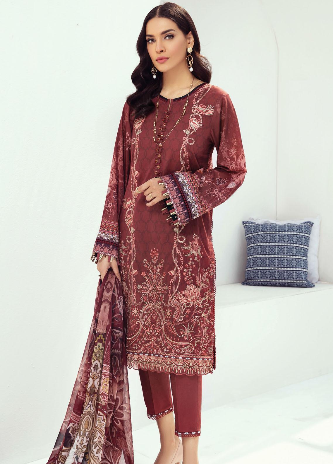 Farasha Embroidered Lawn Suits Unstitched 3 Piece FSH21L 03-PERSIAN RED - Summer Collection
