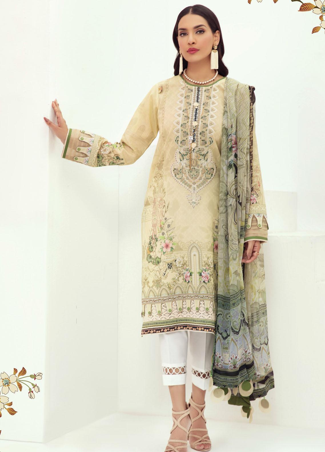 Farasha Embroidered Lawn Suits Unstitched 3 Piece FSH21L 05-BEACH BLOOM - Summer Collection