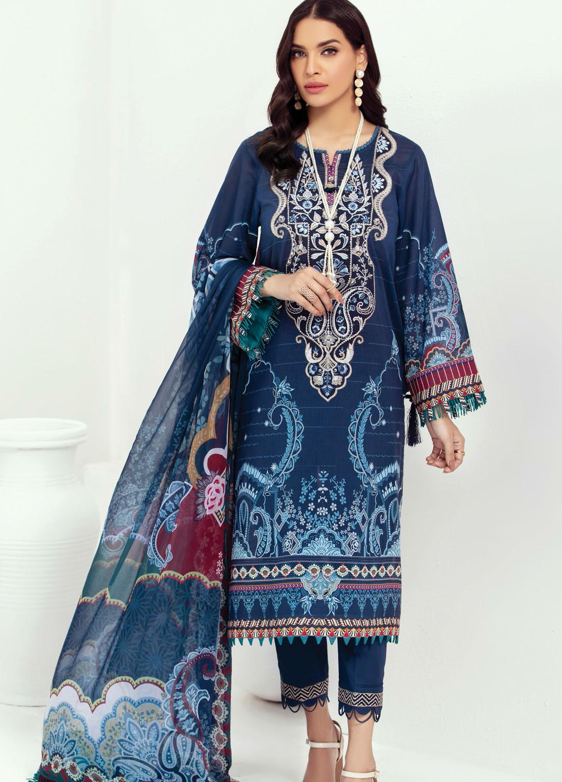 Farasha Embroidered Lawn Suits Unstitched 3 Piece FSH21L 06-DEEP BLUE - Summer Collection