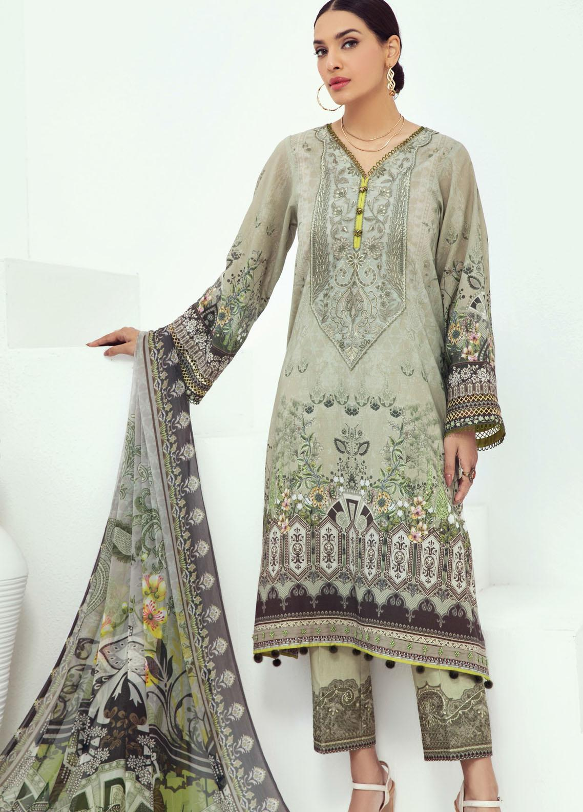 Farasha Embroidered Lawn Suits Unstitched 3 Piece FSH21L 08-TROPICAL BREEZE - Summer Collection