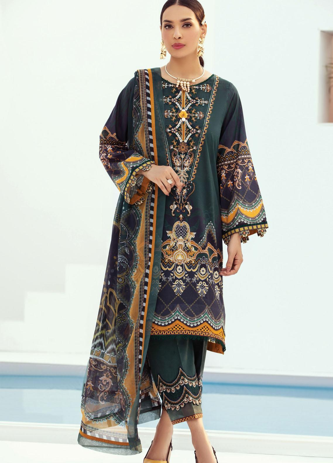 Farasha Embroidered Lawn Suits Unstitched 3 Piece FSH21L 10-EMERALD SPARK - Summer Collection