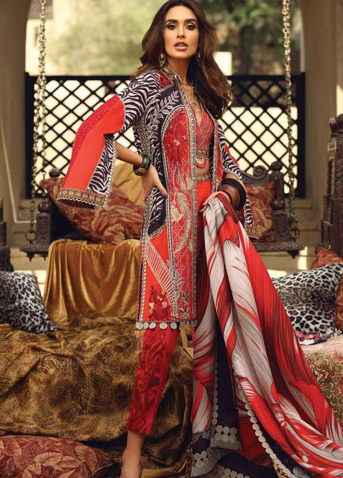 Faraz Manan Embroidered Pima Cotton Unstitched 3 Piece Suit FZM19L 1 - Spring / Summer Collection