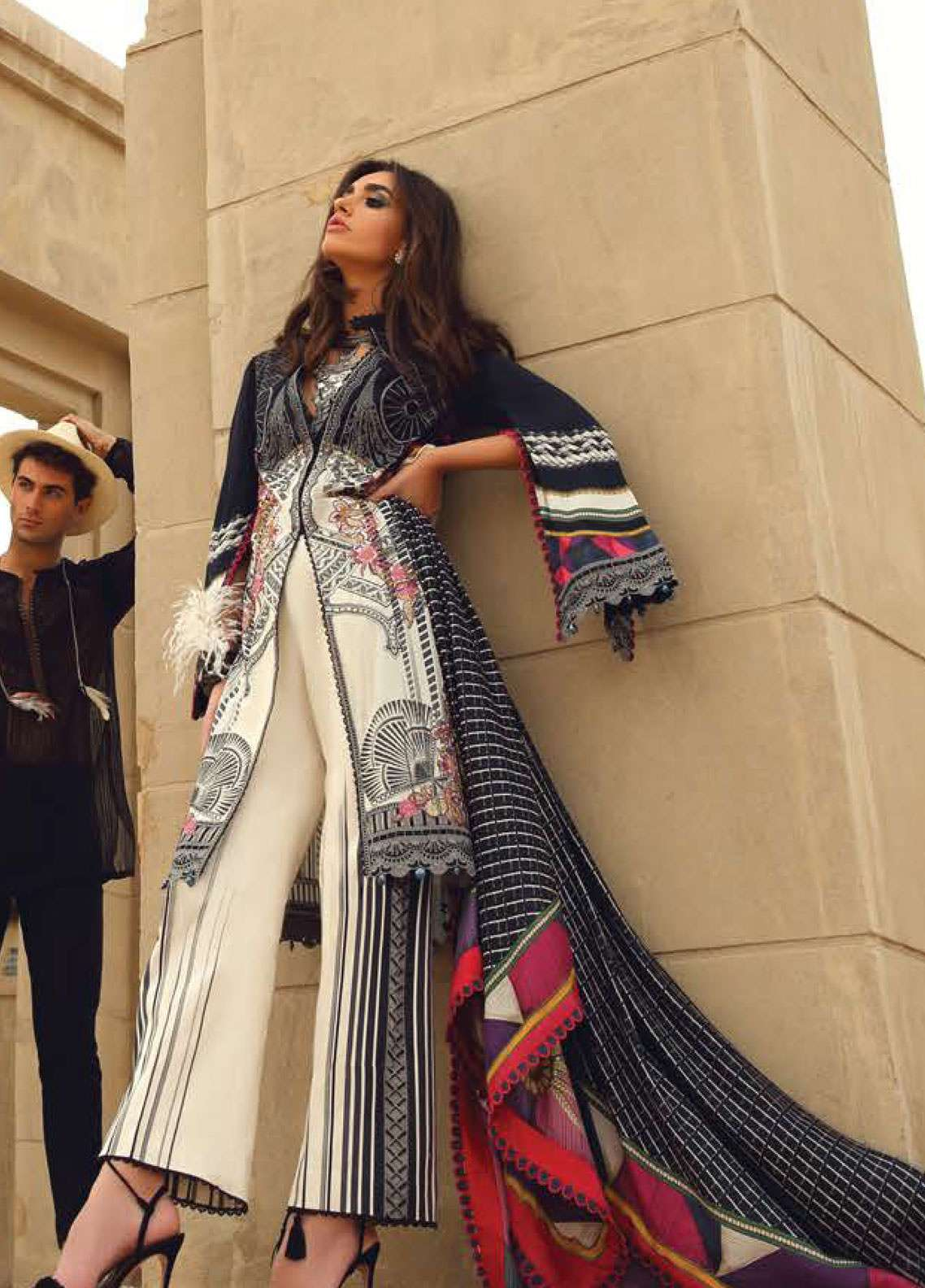 Faraz Manan Embroidered Pima Cotton Unstitched 3 Piece Suit FZM19L 16 - Spring / Summer Collection