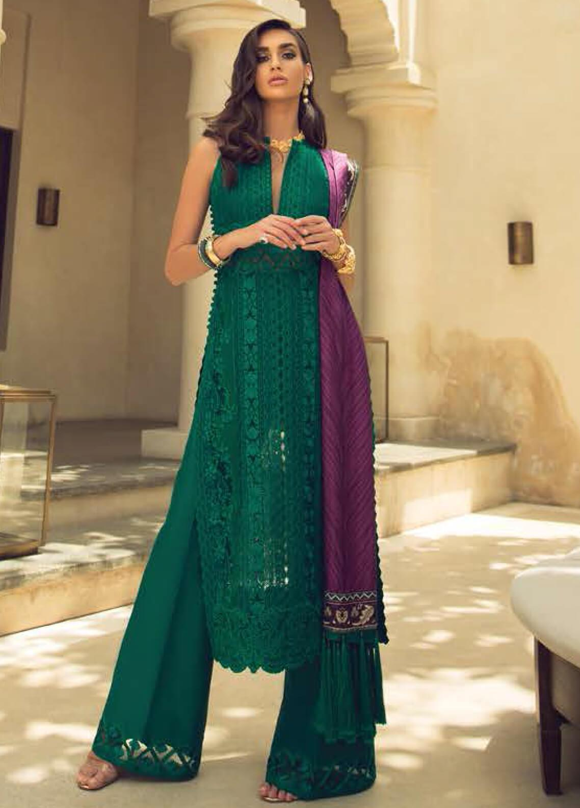 Faraz Manan Embroidered Organza Unstitched 3 Piece Suit FZM19LX 05 - Luxury Collection