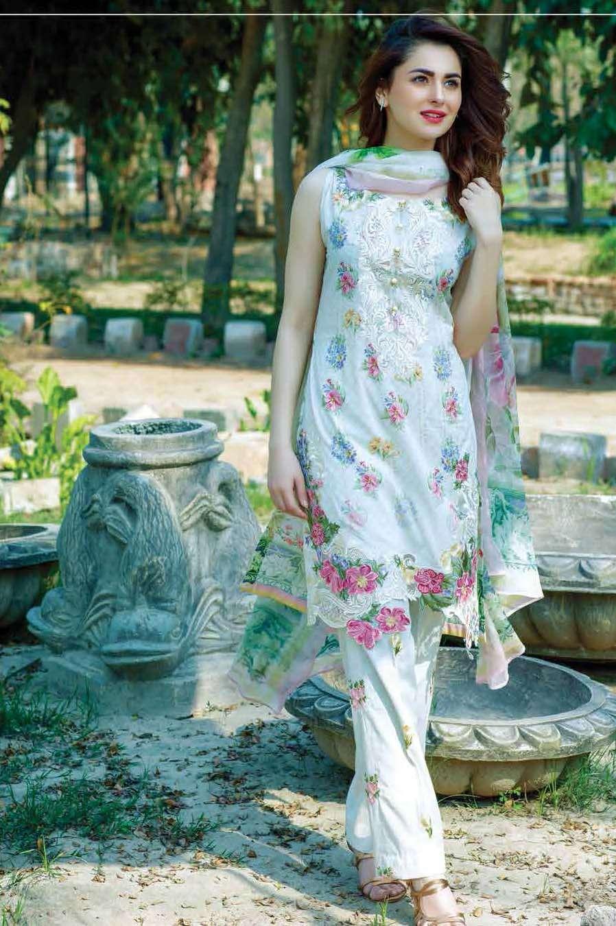 Firdous Fashion Embroidered Lawn Unstitched 3 Piece Suit FI17L 4A