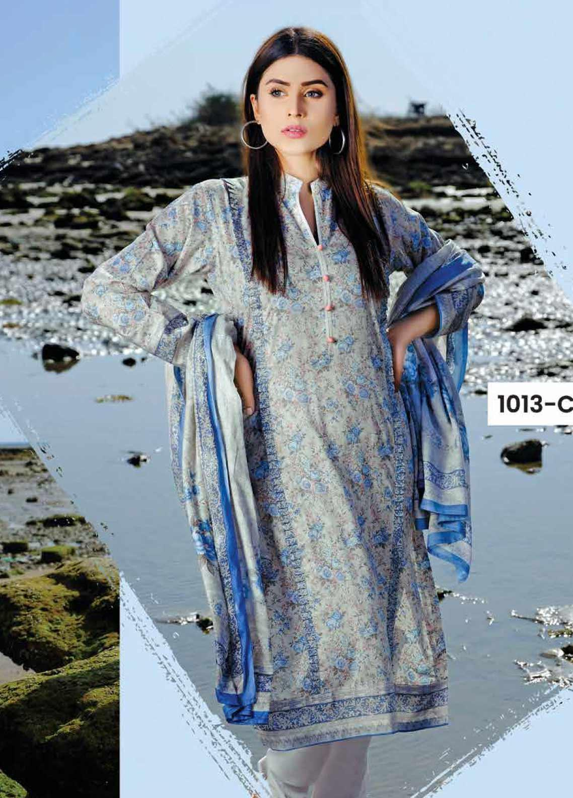 Five Star Printed Lawn Unstitched 3 Piece Suit FS20C 1013C - Spring / Summer Collection