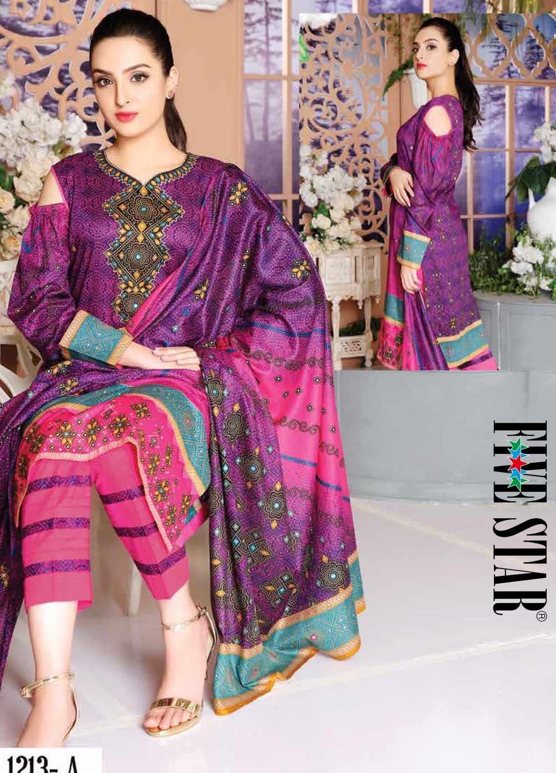 Five Star Printed Lawn Unstitched 3 Piece Suit FS20CL-1 1213A - Spring / Summer Collection