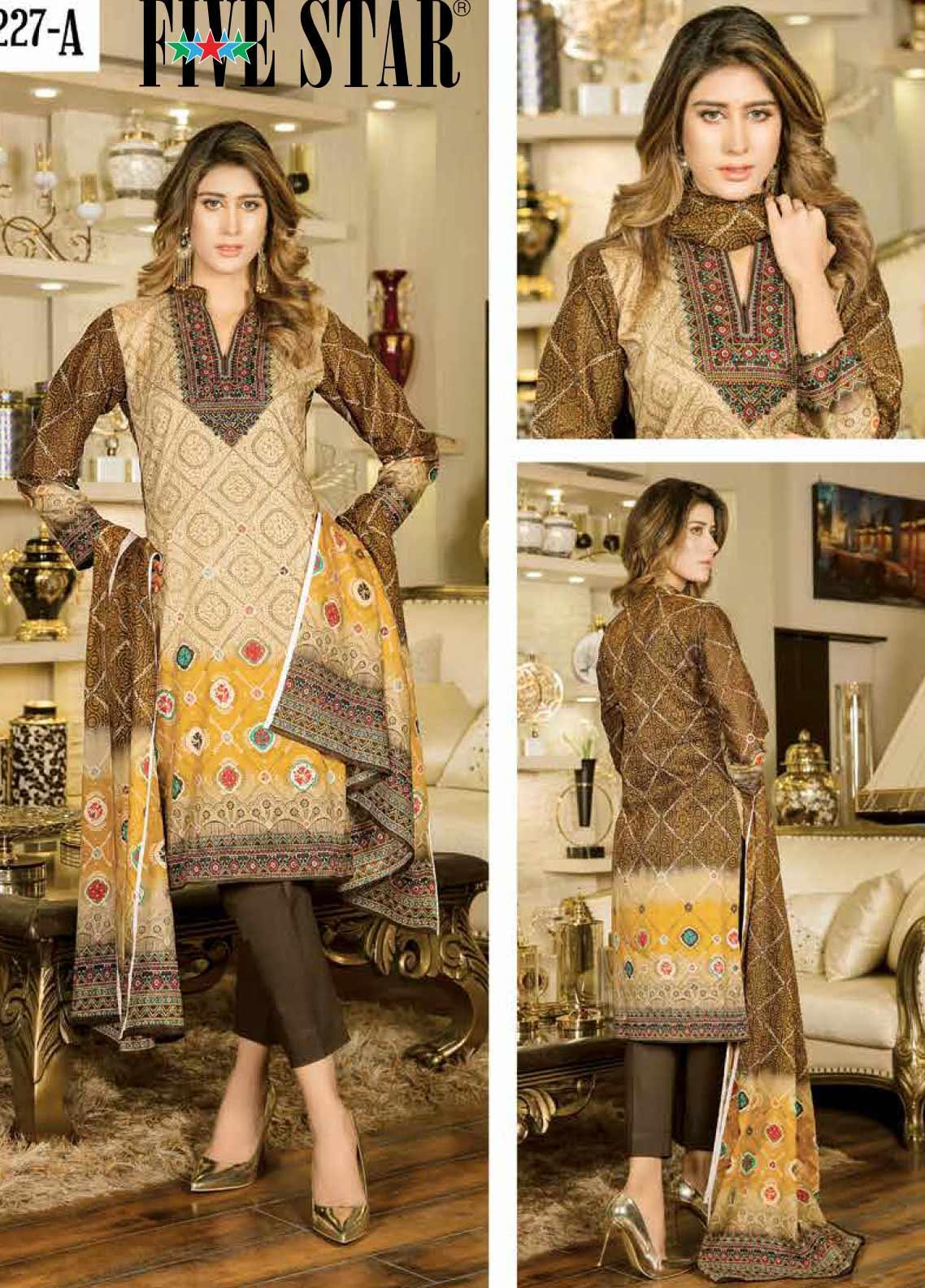 Five Star Printed Lawn Unstitched 3 Piece Suit FS20CL 1227A - Spring / Summer Collection
