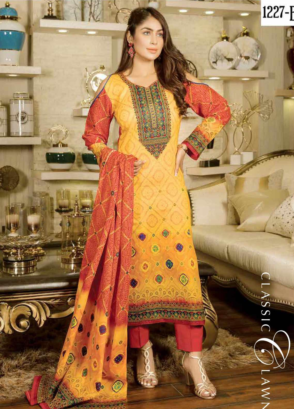 Five Star Printed Lawn Unstitched 3 Piece Suit FS20CL 1227B - Spring / Summer Collection