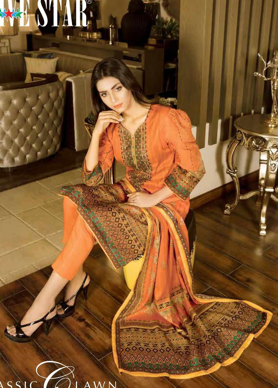 Five Star Printed Lawn Unstitched 3 Piece Suit FS20CL 1229A - Spring / Summer Collection