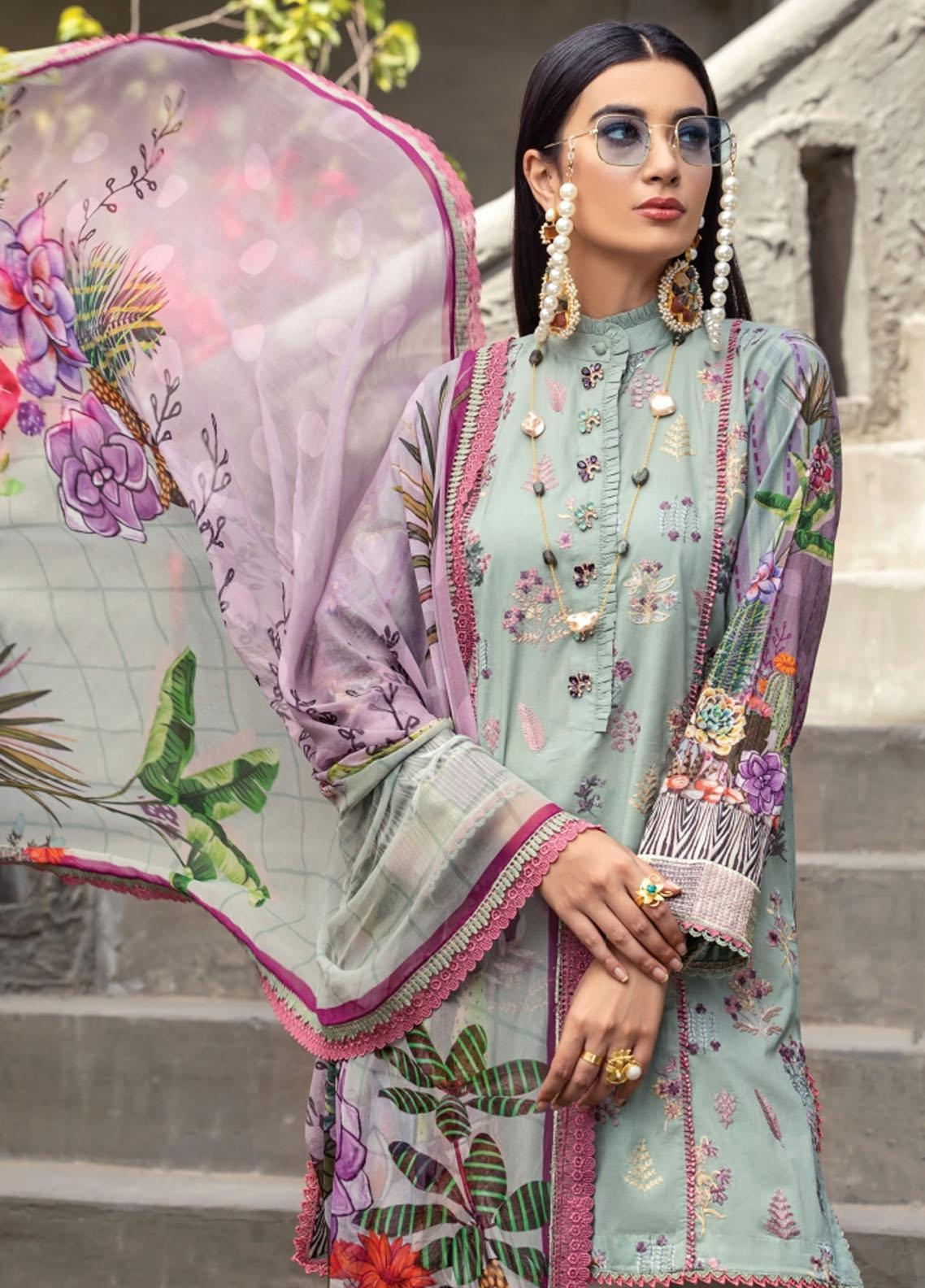 Florent Embroidered Lawn Suits Unstitched 3 Piece FL21LL D-01A - Summer Collection