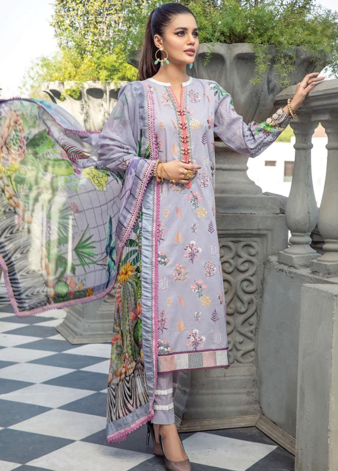 Florent Embroidered Lawn Suits Unstitched 3 Piece FL21LL D-01B - Summer Collection