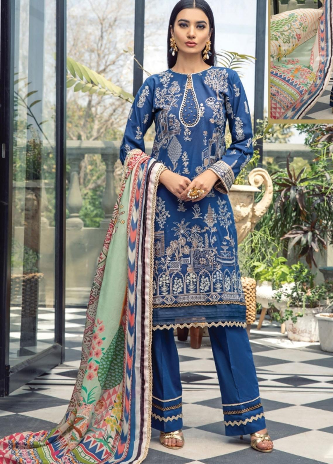 Florent Embroidered Lawn Suits Unstitched 3 Piece FL21LL D-06A - Summer Collection