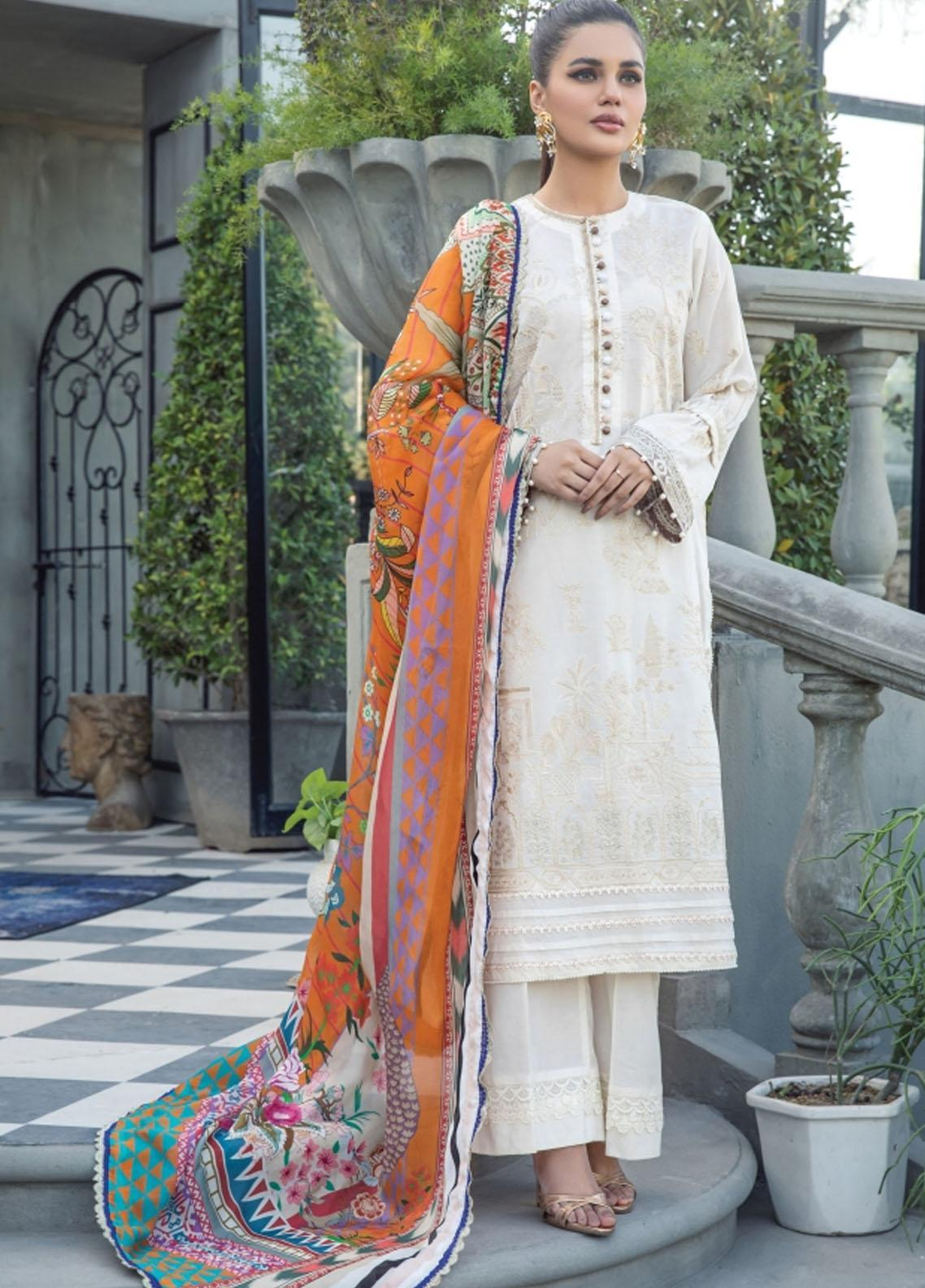 Florent Embroidered Lawn Suits Unstitched 3 Piece FL21LL D-06B - Summer Collection