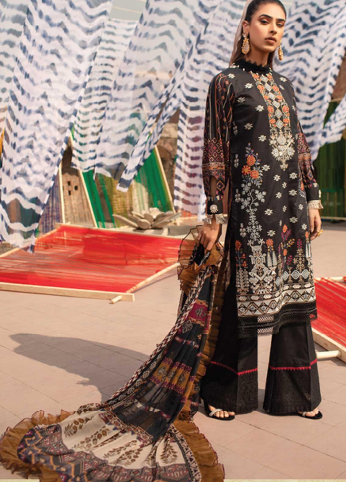 Florent Embroidered Lawn Suits Unstitched 3 Piece F21SS 1B - Luxury Collection