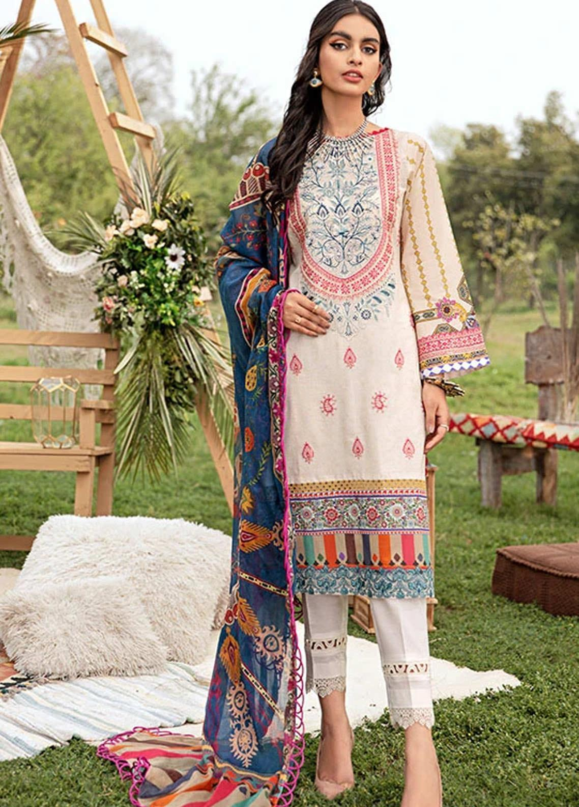 Florent Embroidered Lawn Suits Unstitched 3 Piece F21SV FL-11 - Summer Collection