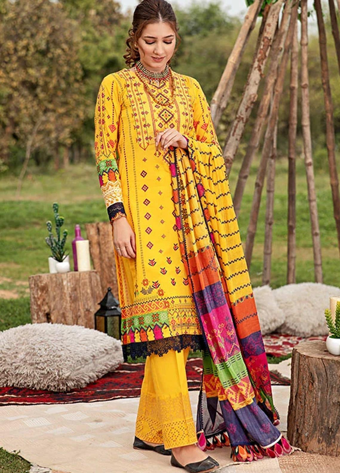 Florent Embroidered Lawn Suits Unstitched 3 Piece F21SV FL-17 - Summer Collection