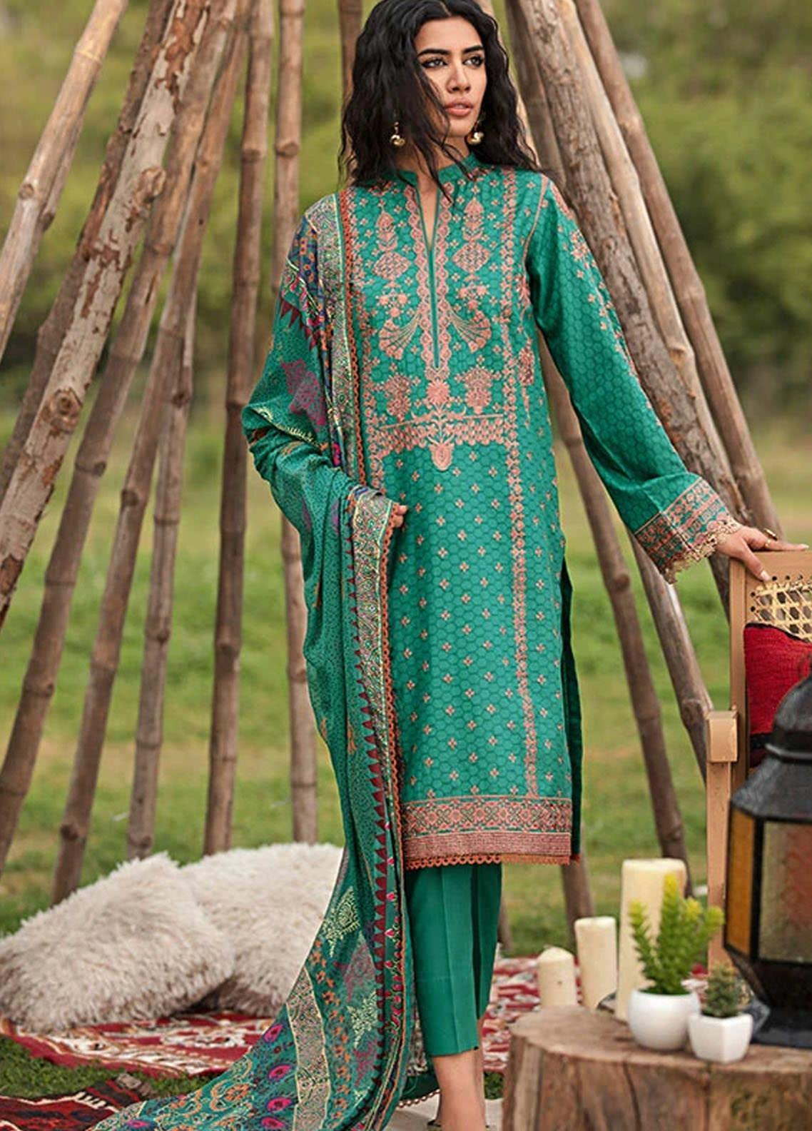 Florent Embroidered Jacquard Suits Unstitched 3 Piece F21SV FL-18 - Summer Collection