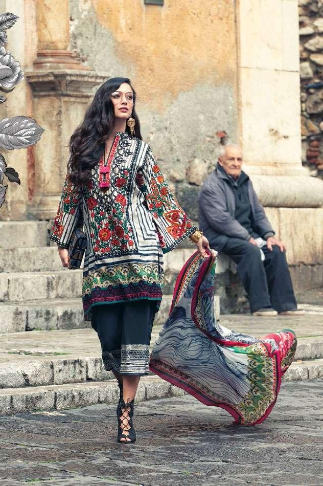 Faraz Manan Embroidered Lawn Unstitched 3 Piece Suit FM17L 05