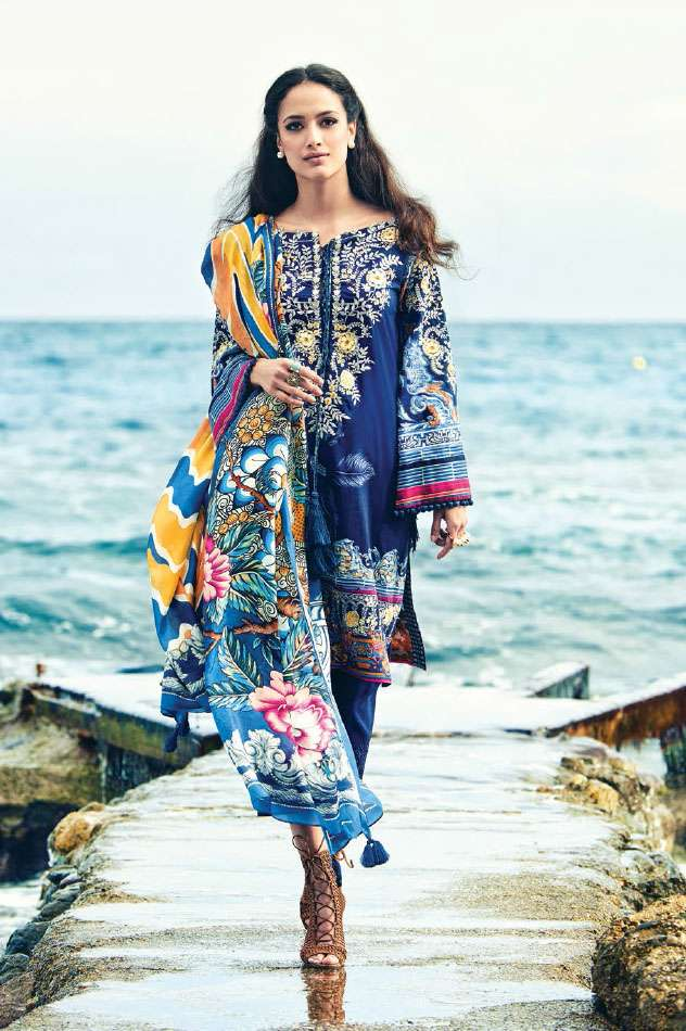 Faraz Manan Embroidered Lawn Unstitched 3 Piece Suit FM17L 12