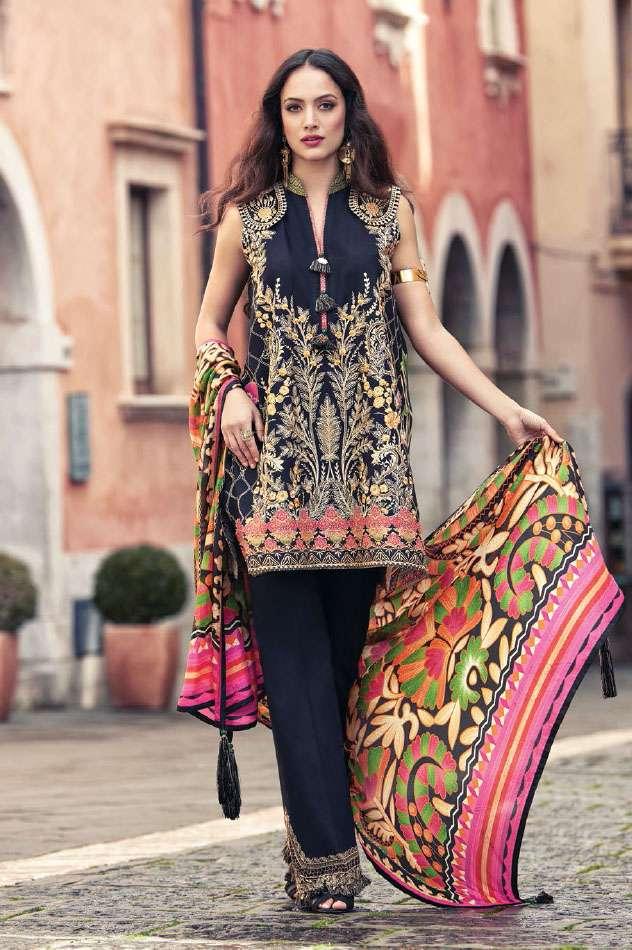 Faraz Manan Embroidered Lawn Unstitched 3 Piece Suit FM17L 13
