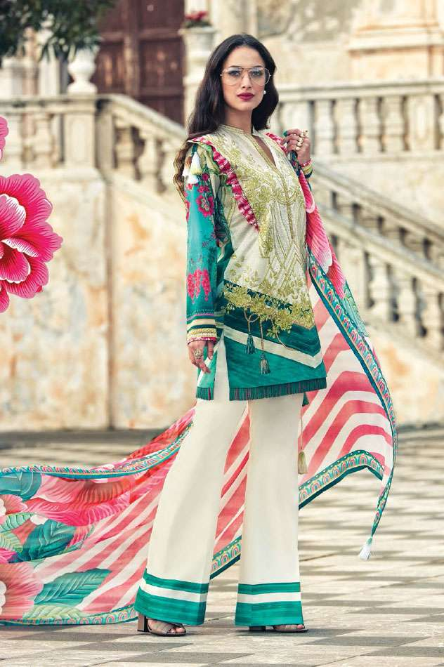 Faraz Manan Embroidered Lawn Unstitched 3 Piece Suit FM17L 17